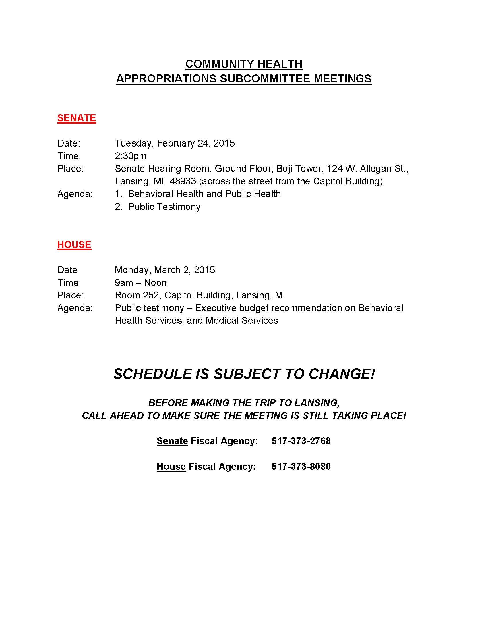 DCH Budget Meeting Schedule 2015